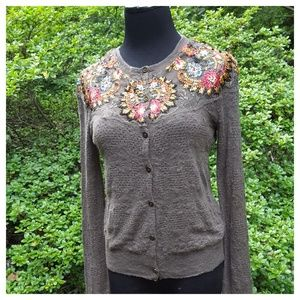 Free People Embroidered Lady Pointelle Cardigan S